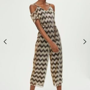 Topshop Gold and Black ZigZag Jumpsuit NWT